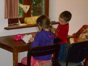 kids concentrating on models.