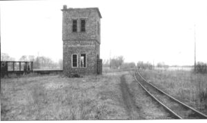 Two story narrow gauge water tower.