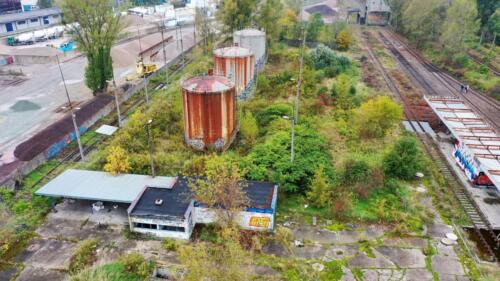View of diesel fuel storage tanks and administrative building.