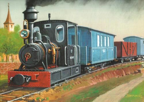 NARROW GAUGE STEAM LOCOMOTIVE + 4 CARS FROM THE TURN OF THE CENTURY XIX/XXIt carried passengers and freight. Of note, it carried bricks from the Golkow Brick Factory to Warsaw which bricks were necessary to help solve the then problem of a housing shortage.